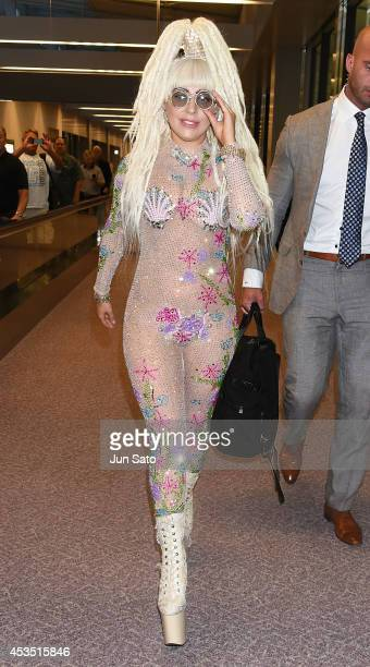 Lady Gaga arrives at Narita International Airport on August 12 2014 in Narita Japan
