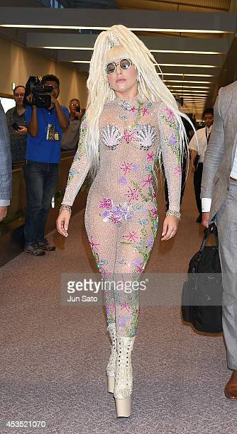 Lady Gaga arrives at Narita International Airport on August 12 2014 in Narita Japan