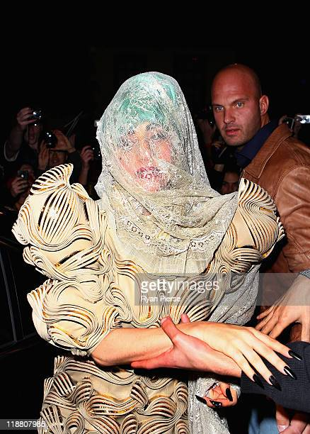 Lady Gaga arrives at Nevermind Nightclub on July 11 2011 in Sydney Australia Lady Gaga fans gathered outside two Sydney nightclubs in hopes to catch...
