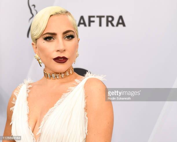 Lady Gaga arrives at the 25th Annual Screen ActorsGuild Awards at The Shrine Auditorium on January 27 2019 in Los Angeles California