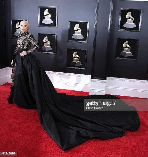 Lady Gaga arrives at the 60th Annual GRAMMY Awards at Madison Square Garden on January 28 2018 in New York City