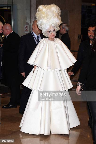 Lady Gaga arrives at The Brit Awards 2010 held at Earls Court on February 16 2010 in London England