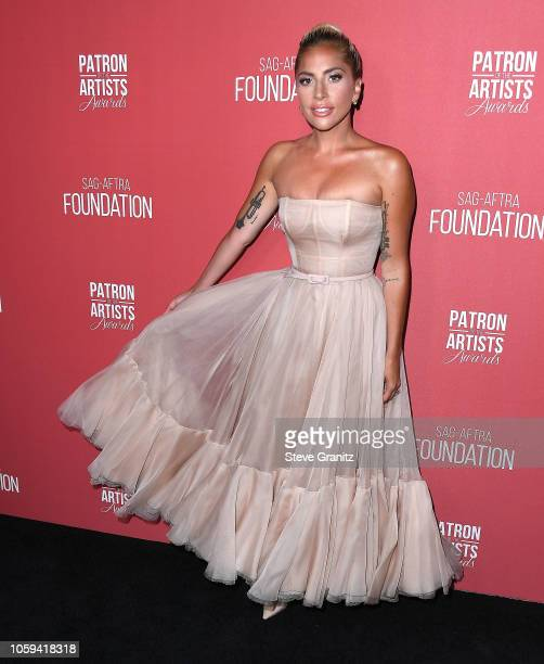 Lady Gaga arrives at the SAG-AFTRA Foundation's 3rd Annual Patron Of The Artists Awards at Wallis Annenberg Center for the Performing Arts on...