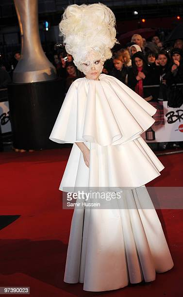 Lady Gaga arrives for the BRIT Awards 2010 on February 16 2010 at Earls Court in London England