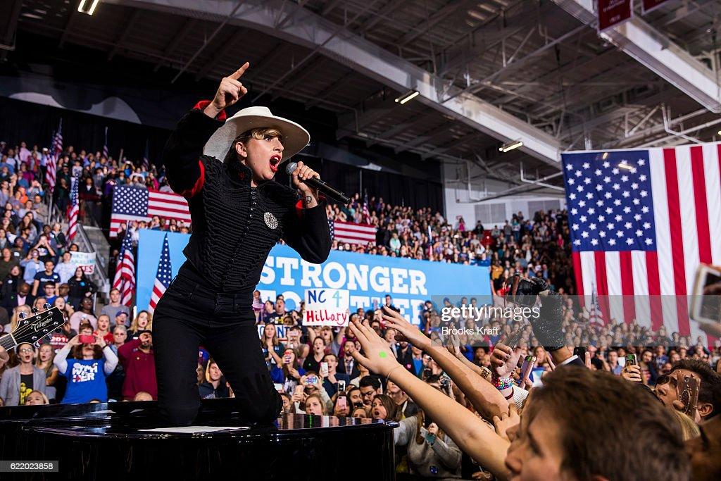 Lady Gaga at a rally for Democratic presidential nominee Hillary Clinton, November 8, 2016 in Raleigh, North Carolina.