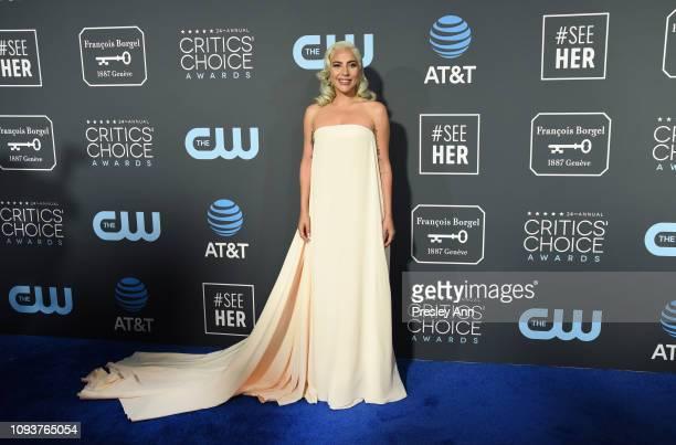 Lady Gaga at The 24th Annual Critics' Choice Awards at Barker Hangar on January 13 2019 in Santa Monica California