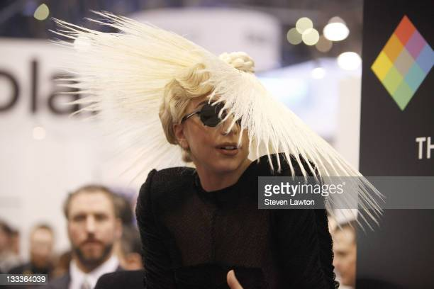 Lady Gaga attends a Polaroid presentation were she was named Creative Director for a specialty line of Polaroid products at the 2010 International...