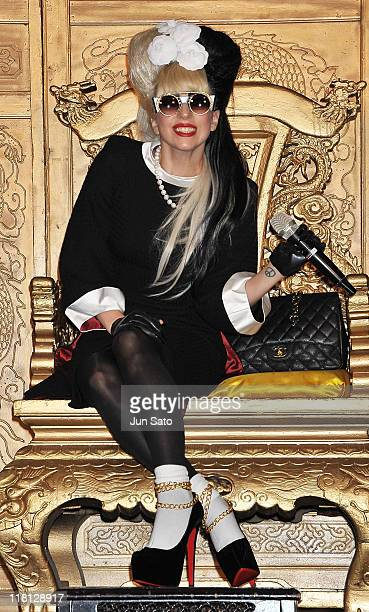 """Lady Gaga attends a press conference of her new album """"Born This Way"""" at the Regent Hotel on July 4, 2011 in Taipei, Taiwan."""