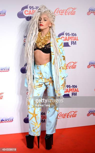 Lady Gaga attends on day 2 of the Capital FM Jingle Bell Ball at the 02 Arena on December 8 2013 in London England