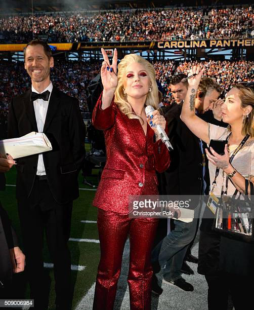 Lady Gaga attends Super Bowl 50 at Levi's Stadium on February 7 2016 in Santa Clara California
