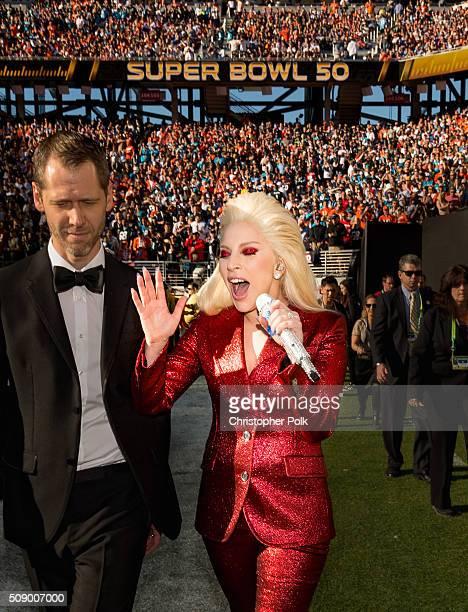 Lady Gaga attends Super Bowl 50 at Levi's Stadium on February 7 2016 in Santa Clara California