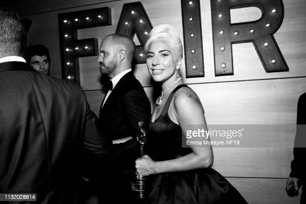 Lady Gaga attends the 2019 Vanity Fair Oscar Party hosted by Radhika Jones at Wallis Annenberg Center for the Performing Arts on February 24 2019 in...