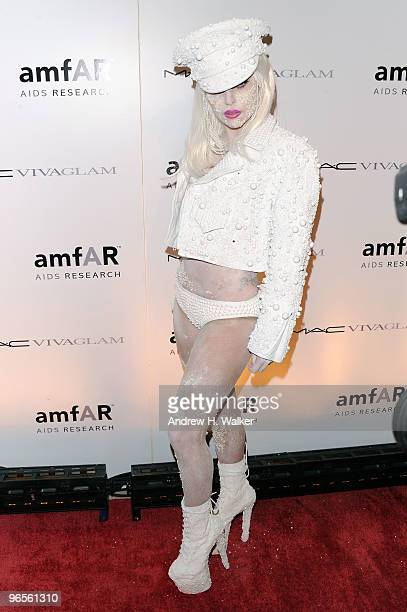 Lady Gaga attends the amfAR New York Gala co-sponsored by M.A.C. Cosmetics to Kick Off Fall 2010 Fashion Week at Cipriani 42nd Street on February 10,...