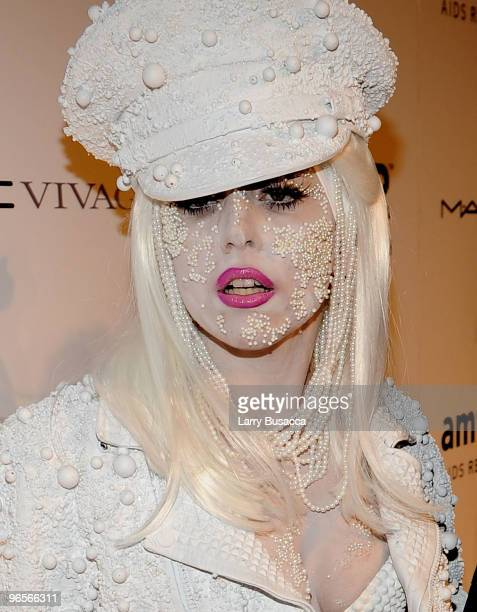Lady Gaga attends the amfAR New York Gala cosponsored by MAC Cosmetics to Kick Off Fall 2010 Fashion Week at Cipriani 42nd Street on February 10 2010...
