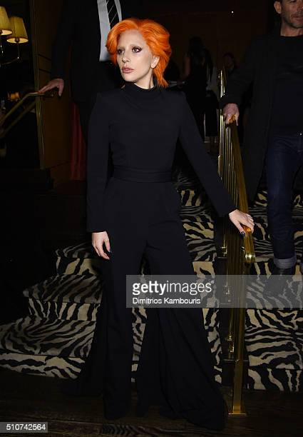 Lady Gaga attends the Brandon Maxwell A/W 2016 fashion show during New York Fashion Week at The Monkey Bar on February 16 2016 in New York City