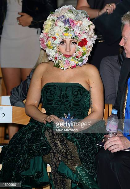 Lady Gaga attends the front row for the Philip Treacy show on day 3 of London Fashion Week Spring/Summer 2013 at The Royal Courts Of Justice on...