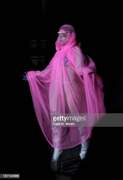 Lady Gaga attends the front row for the Philip Treacy show on day 3 of London Fashion Week Spring/Summer 2013, at The Royal Courts Of Justice on...