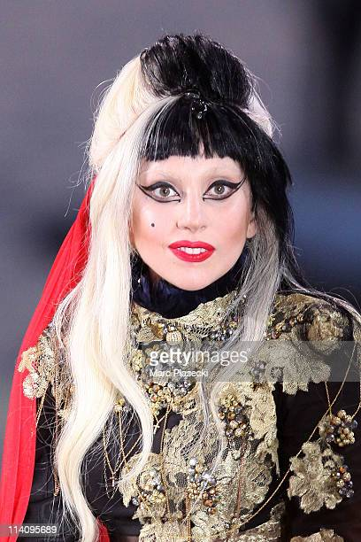 Lady Gaga attends the 'Le Grand Journal' tv show at Martinez Beach Pier on May 11 2011 in Cannes France