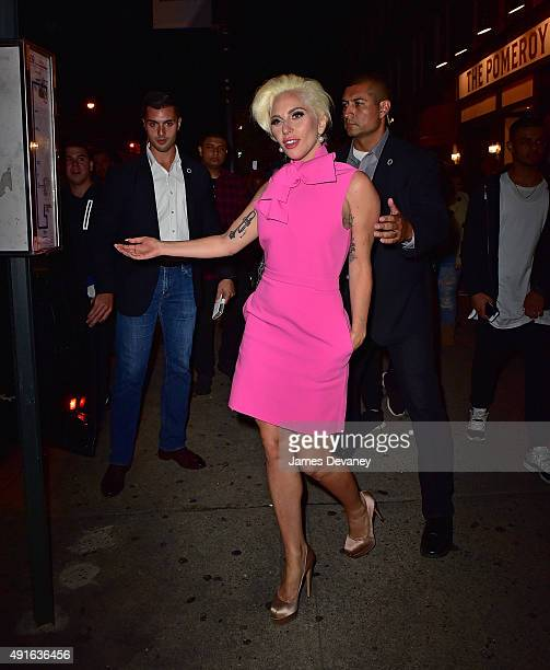 Lady Gaga attends The Pomeroy restaurant opening in Astoria Queens on October 6 2015 in New York City
