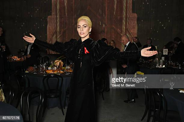 Lady Gaga attends 'The Radical Eye' dinner and private view for the Elton John Aids Foundation in association with Bulgari on December 1 2016 in...