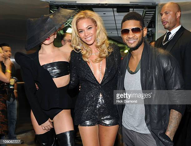 Lady Gaga Beyonce Knowles and Usher pose backstage at The 53rd Annual GRAMMY Awards held at Staples Center on February 13 2011 in Los Angeles...