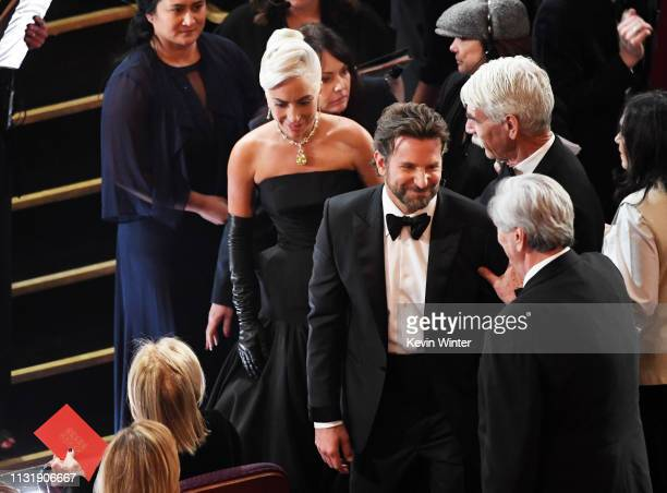 Lady Gaga, Bradley Cooper, and Sam Elliott attend the 91st Annual Academy Awards at Dolby Theatre on February 24, 2019 in Hollywood, California.