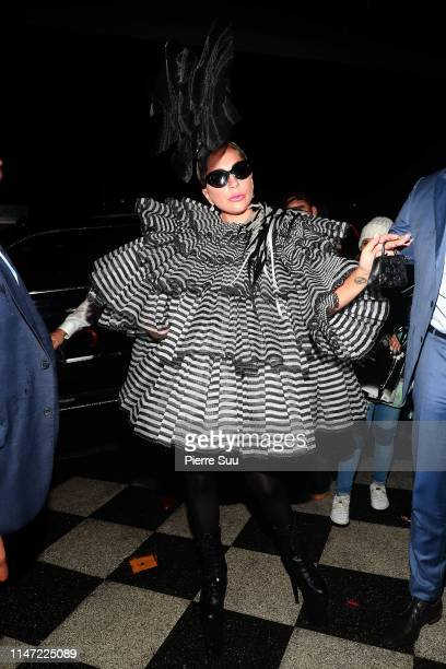 Lady Gaga comes out of a pre-Met Gala dinner party on May 05, 2019 in New York City.