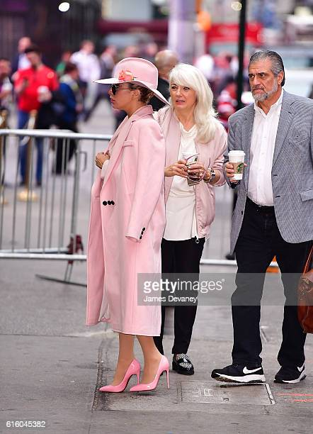 Lady Gaga Cynthia Germanotta and Joe Germanotta arrive to ABC's Good Morning America in Times Square on October 21 2016 in New York City