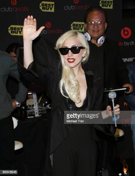 """Lady Gaga debuts her new album """"The Fame Monster"""" at Best Buy on November 23, 2009 in Los Angeles, California."""