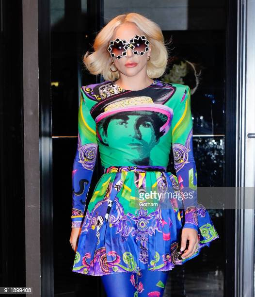 Lady Gaga departs her hotel in a very colorful outfit on January 29 2018 in New York City