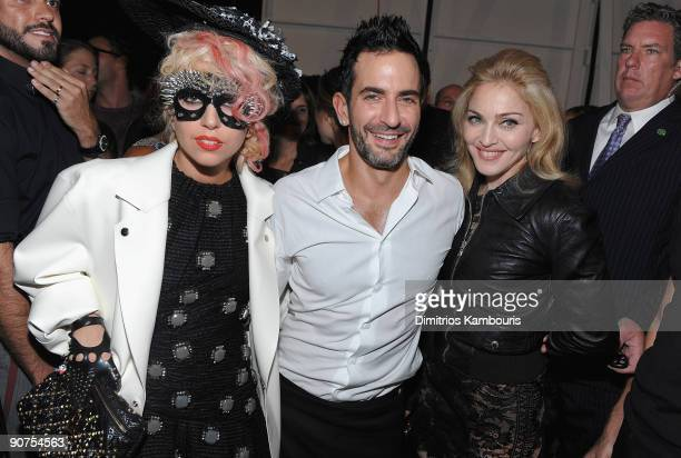 Lady Gaga designer Marc Jacobs and Madonna attend the Marc Jacobs 2010 Spring Fashion Show at the NY State Armory on September 14 2009 in New York...