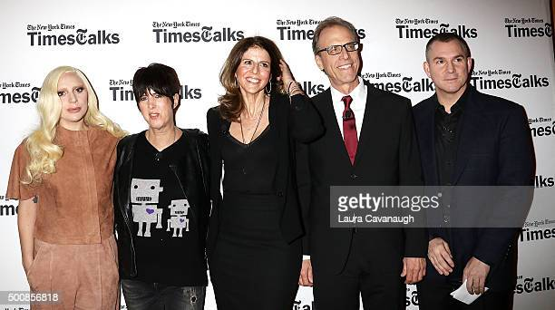 Lady Gaga Diane Warren Amy Ziering Kirby Dick and Frank Bruni attend TimesTalks Presents' 'Hunting Ground' With Lady Gaga Diane Warren Kirby Dick And...