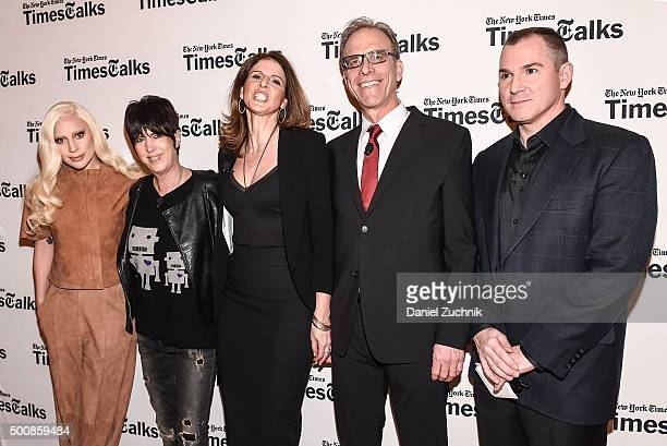 Lady Gaga Diane Warren Amy Ziering Kirby Dick and Frank Bruni attend the TimesTalks Presents 'Hunting Ground' With Lady Gaga Diane Warren Kirby Dick...