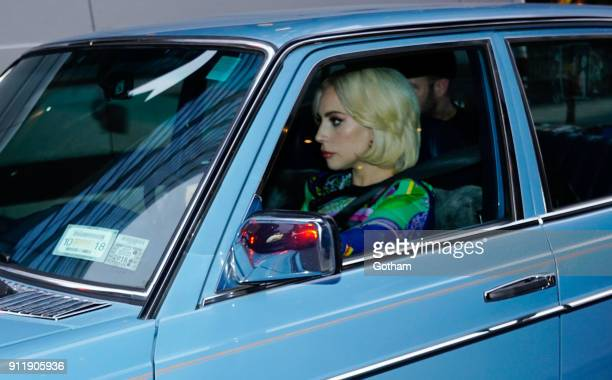 Lady Gaga drives boyfriend Christian Carino in a classic Mercedes on January 29 2018 in New York City
