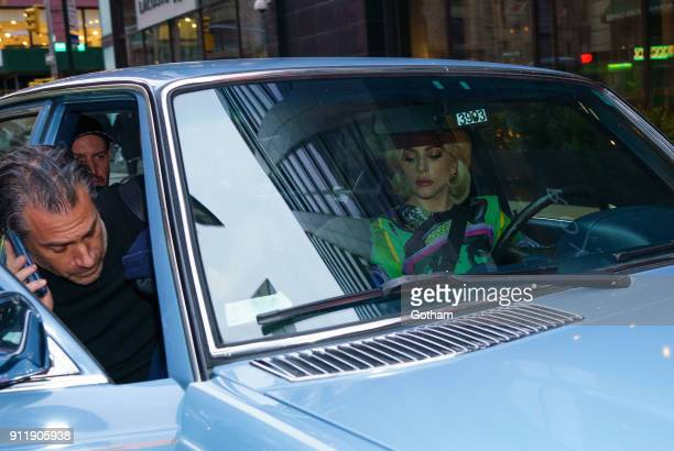 Lady Gaga drives Christian Carino in a classic Mercedes on January 29 2018 in New York City