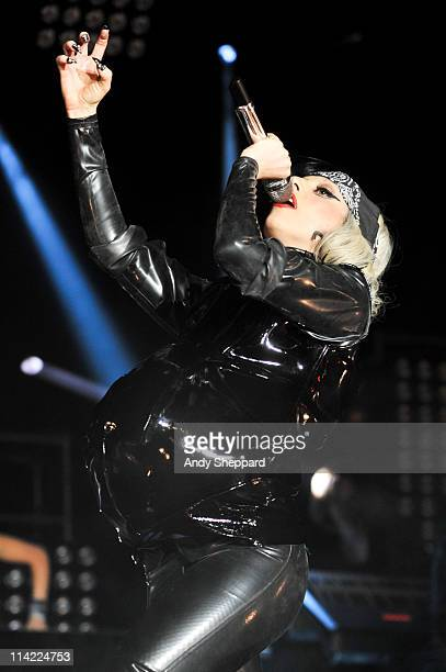 Lady Gaga emerges from a coffin wearing a fake pregnancy bump on stage at BBC Radio 1's Big Weekend 2011 on May 15 2011 in Carlisle England
