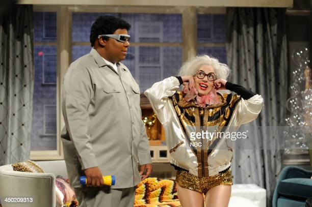 LIVE 'Lady Gaga' Episode 1647 Pictured Kenan Thompson as Thorgon Lady Gaga as herself/Mrs Germanotta during the 'Upper West Side 2063' skit