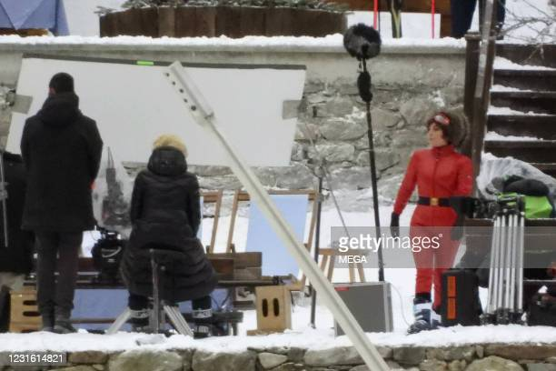 """Lady Gaga filming """"House of Gucci"""" on March 9, 2021 in Jean, Italy."""