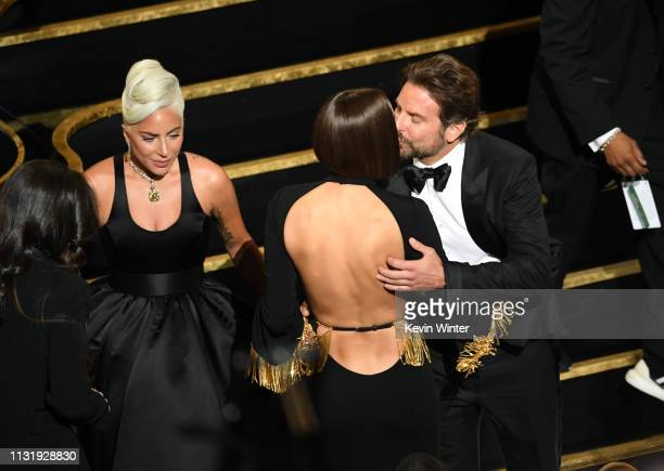 Lady Gaga, Irina Shayk and Bradley Cooper during the 91st Annual Academy Awards at Dolby Theatre on February 24, 2019 in Hollywood, California.