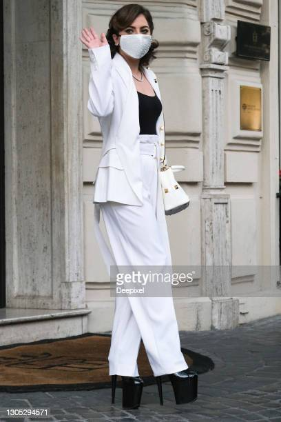 Lady Gaga is seeing in Rome on March 04, 2021 in Rome, Italy.
