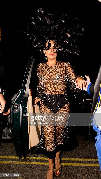 Lady Gaga is seen arriving at the Box Club Soho on June 08 2015 in London England