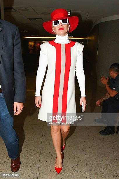 Lady Gaga is seen at LAX on October 13, 2015 in Los Angeles, California.