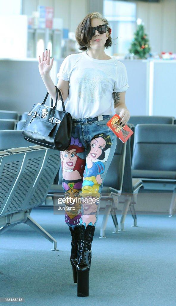 Lady Gaga is seen at Narita International Airport on December 3, 2013 in Narita, Japan.