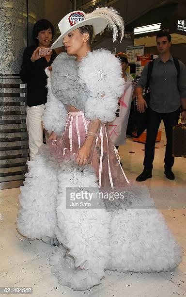 Lady Gaga is seen at Narita International Airport on November 6 2016 in Tokyo Japan