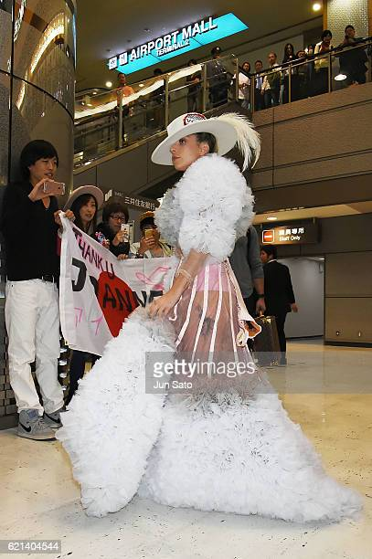 Lady Gaga is seen at Narita International Airport on November 6 2016 in Tokyo Japan