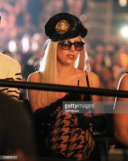 Lady Gaga is seen in the crowd at the Britney Spears and Nicki Minaj concert at the Boardwalk Hall Arena on August 6 in Atlantic City NJ
