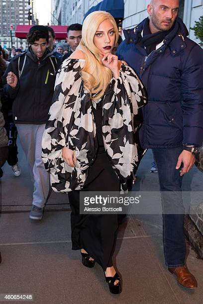 Lady Gaga is seen leaving a Manhattan hotel on December 18 2014 in New York City