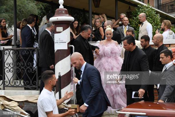 Lady Gaga is seen leaving Cipriani Hotel during the 75th Venice Film Festival on August 31 2018 in Venice Italy