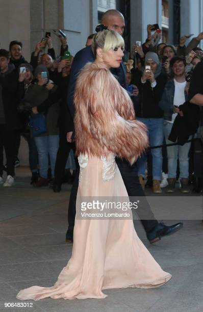 Lady Gaga is seen leaving Palazzo Parigi Hotel on January 18 2018 in Milan Italy