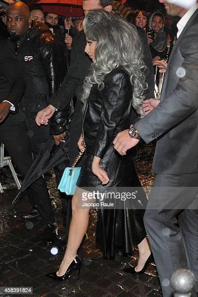 Lady Gaga is seen leaving Park Hyatt Hotel on November 4 2014 in Milan Italy
